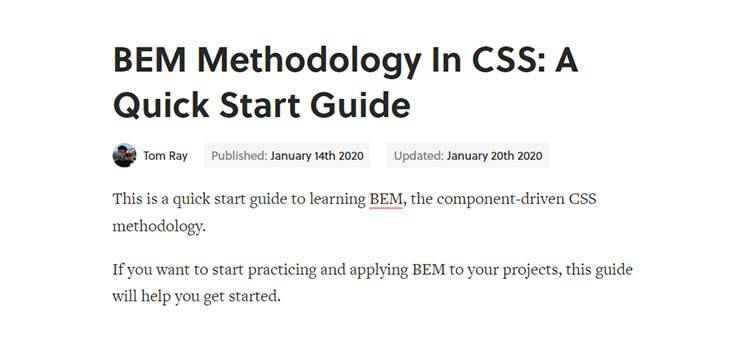 Example from BEM Methodology In CSS: A Quick Start Guide