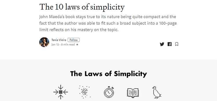 Example from The 10 laws of simplicity