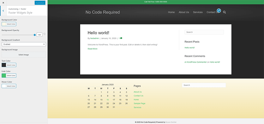Theme footer settings.