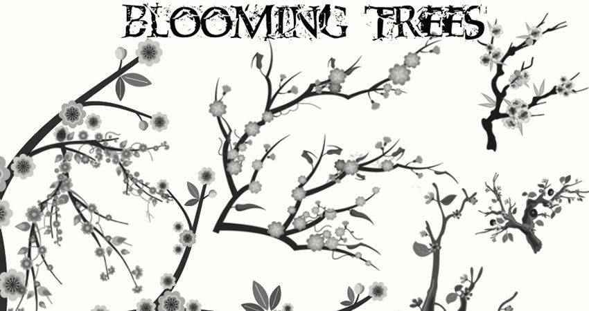 Blooming Trees free photoshop nature brush sets
