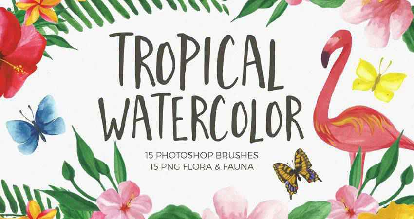 Tropical Watercolor  free photoshop nature brush sets