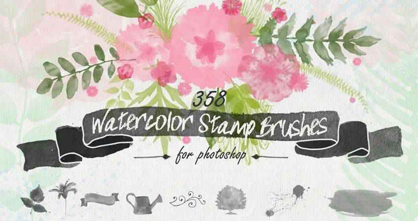 Floral Watercolor PS Stamp free photoshop nature brush sets