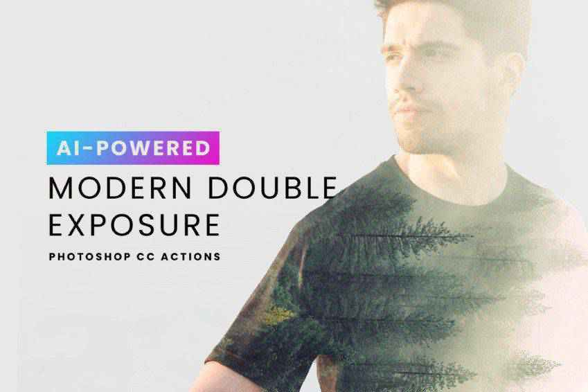 AI Modern Double Exposure Photoshop Actions