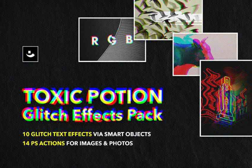 Toxic Potion Glitch Effects Pack for Photoshop
