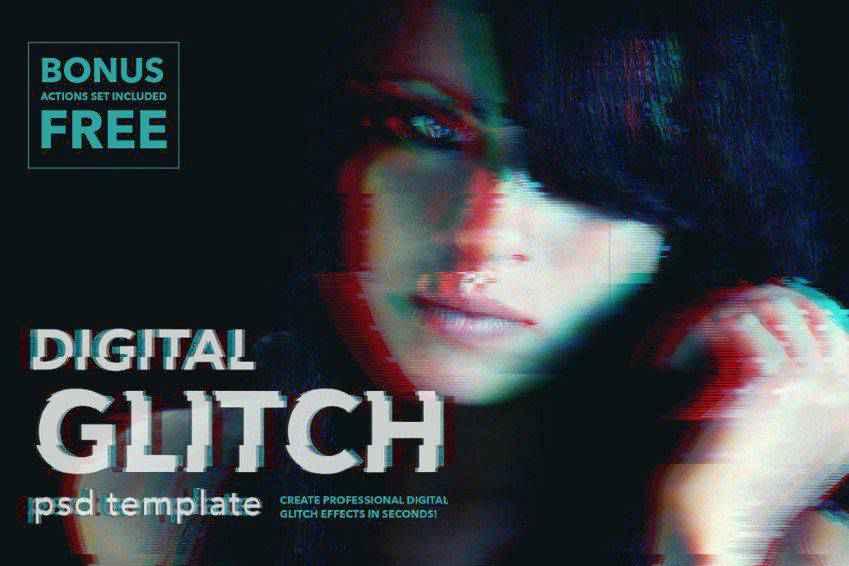 Digital Glitch Effect Photoshop Actions