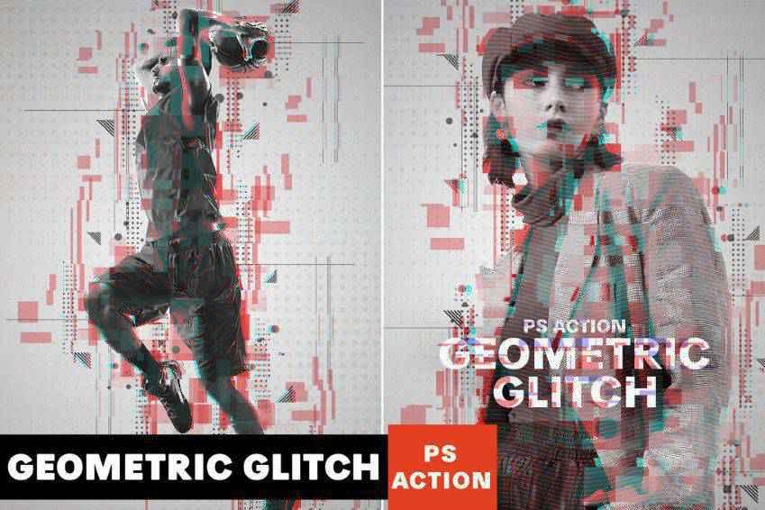Geometric Glitch Photoshop Action