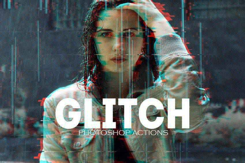 VHS Glitch Effect Photoshop PSD Actions