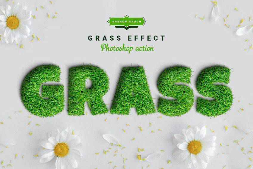 Grass Text Effect Photoshop Action