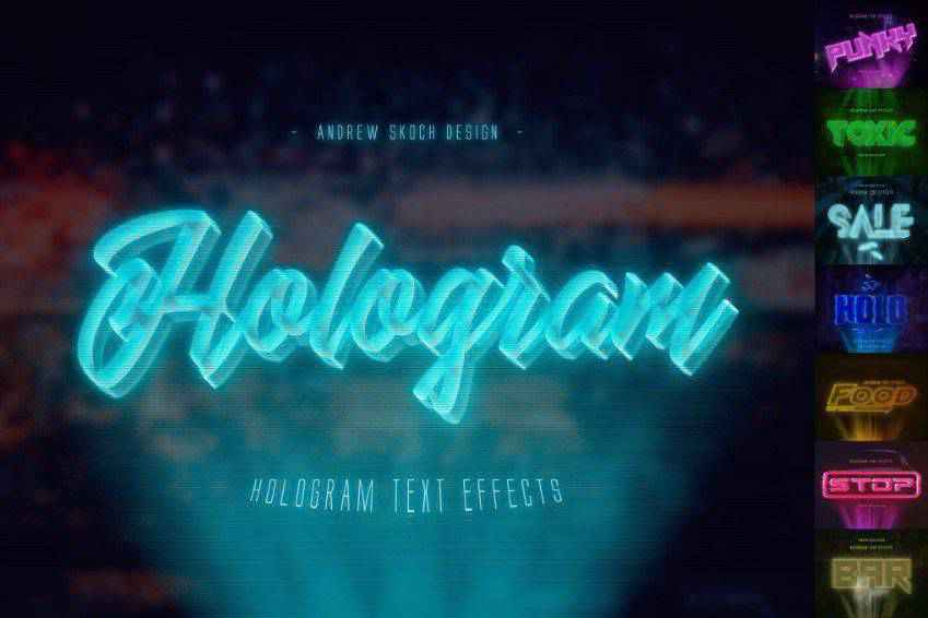 Hologram Photoshop Text Effects