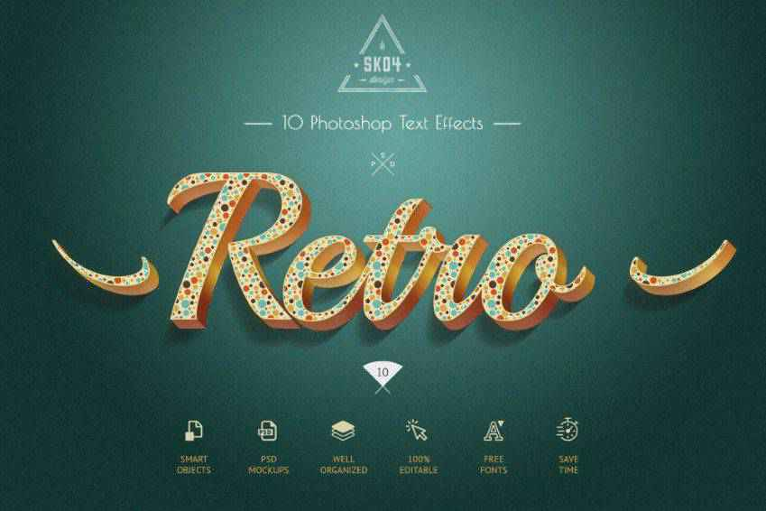Retro Colorful PSD Text Effects