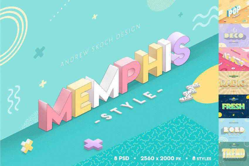 Memphis Style Photoshop Text Effects