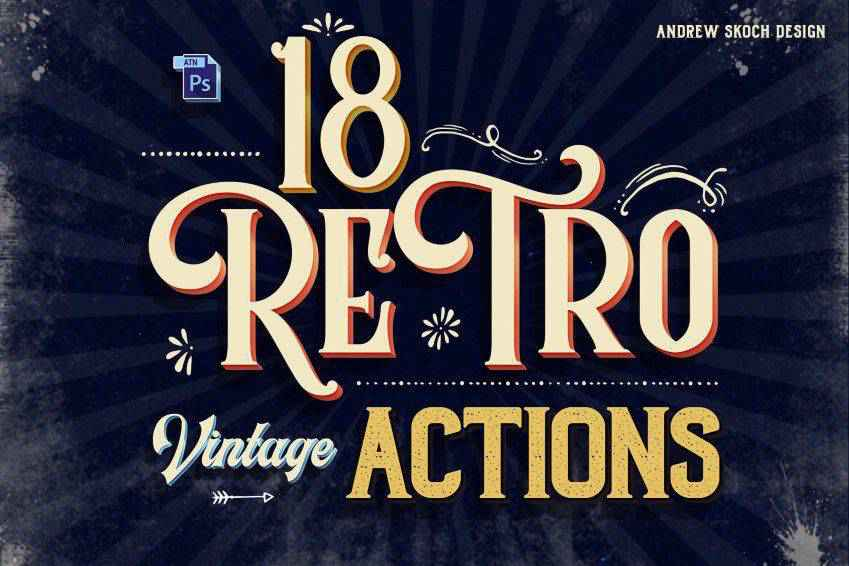 Retro Text Photoshop Actions