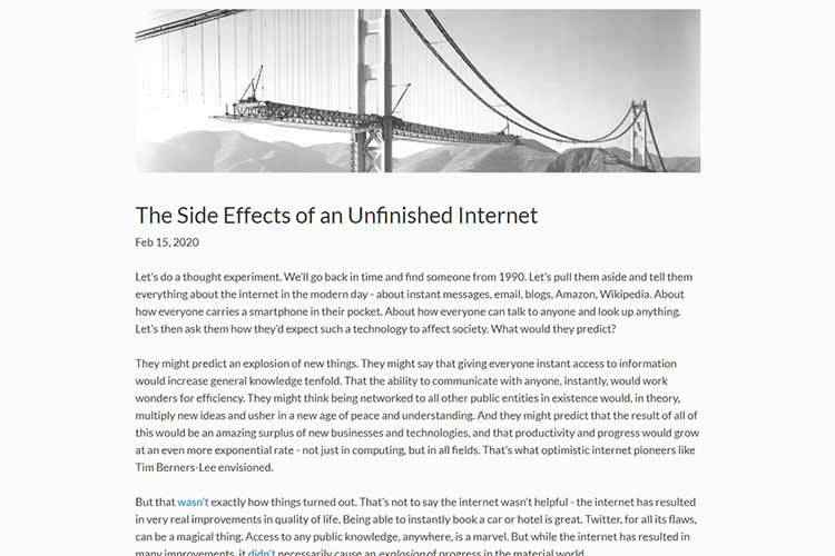 Example from The Side Effects of an Unfinished Internet