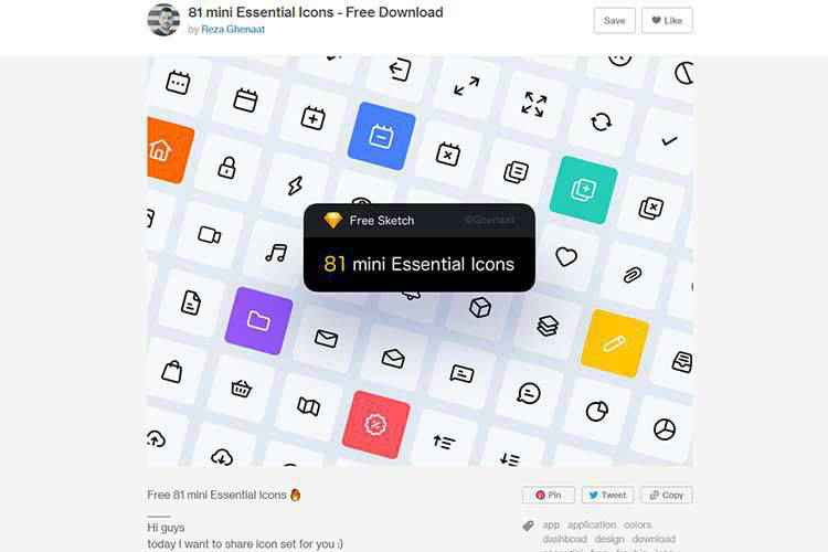 Example from Free 81 mini Essential Icons