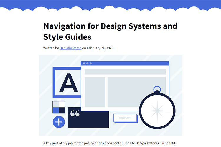 Example from Navigation for Design Systems and Style Guides