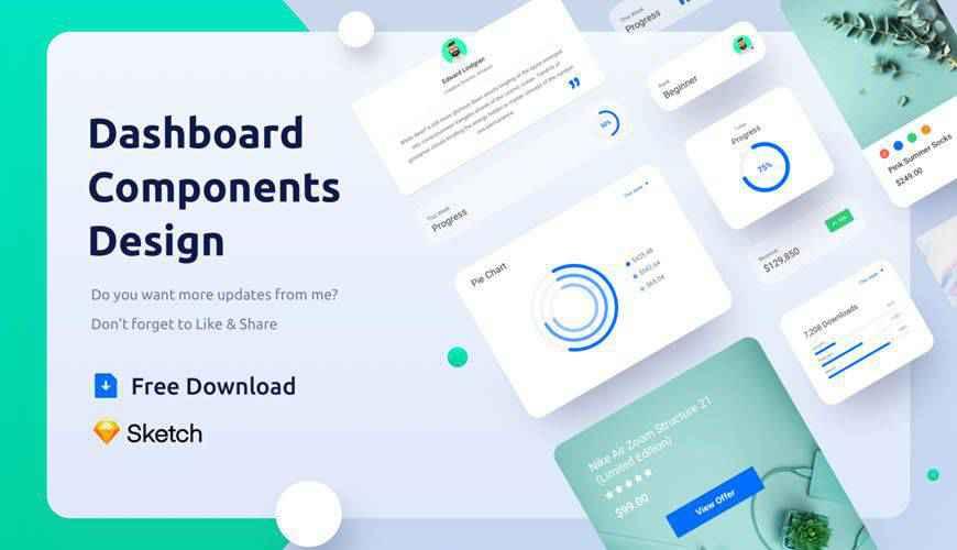 Freebie Dashboard Components Design dashboard admin template ui free Sketch App