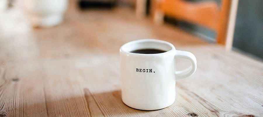 A coffee mug on a table.