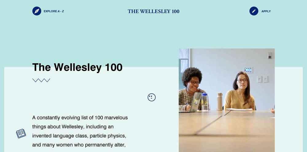 The Wellesley 100 clean web design inspiration example website