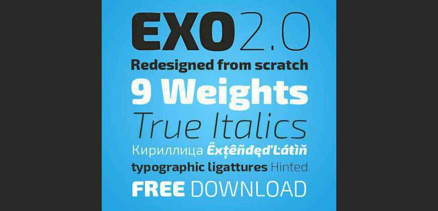 Exo 2.0 Contemporary Geometric Sans Serif free clean font typeface