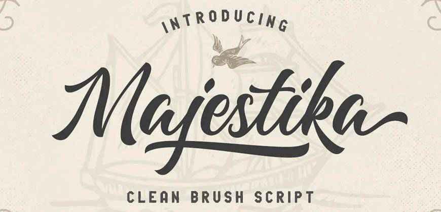 Majestika Clean Brush Scriptclean font typeface
