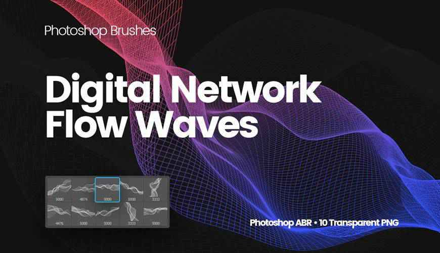 Digital Network Flow of Waves abstract fractal geometrical photoshop brushes free
