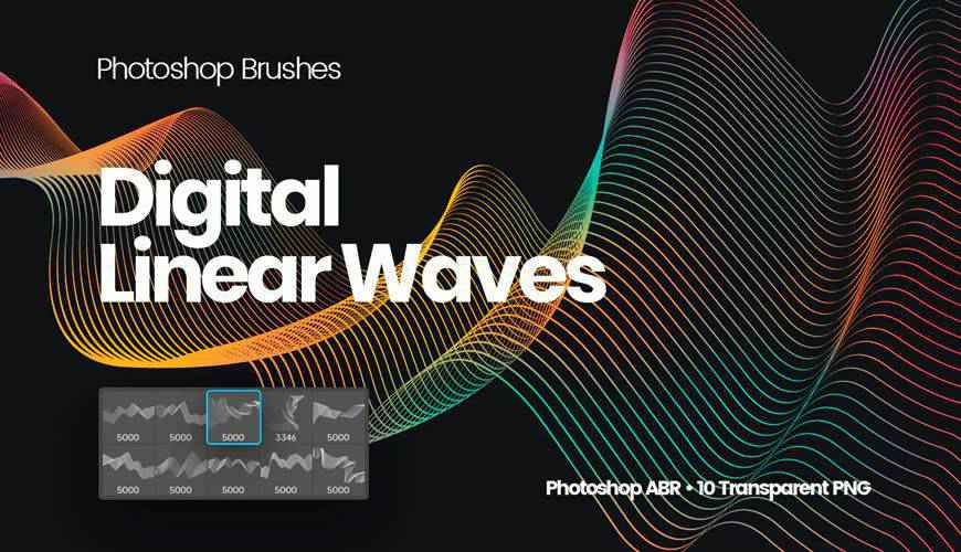 Digital Linear Waves abstract fractal geometrical photoshop brushes free
