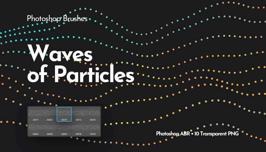 Waves of Particles abstract fractal geometrical photoshop brushes free