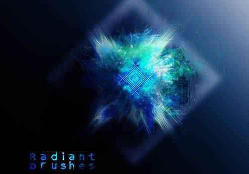 Radiant abstract fractal geometrical photoshop brushes free