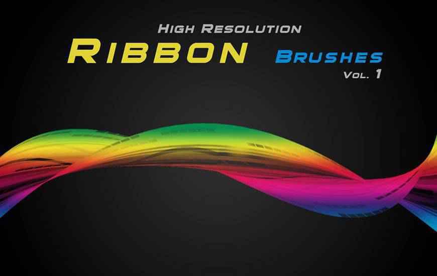 High-Resolution ribbon swirl photoshop brush free