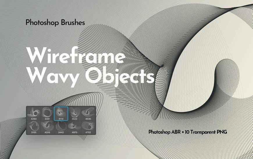 Wireframe Wavy Objects ribbon swirl photoshop brush free