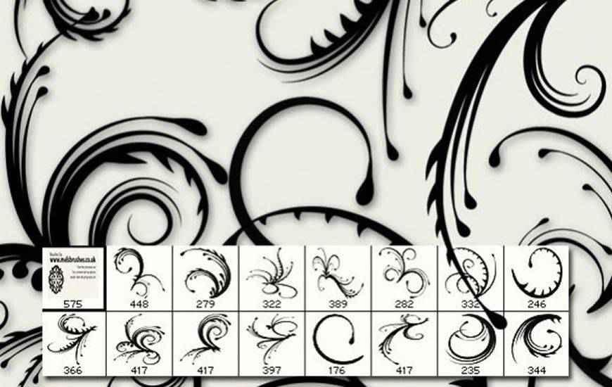 Spiky Swirls ribbon swirl photoshop brush free