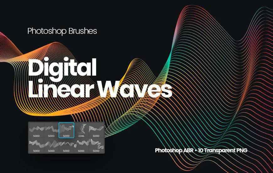 Digital Linear Waves ribbon swirl photoshop brush free