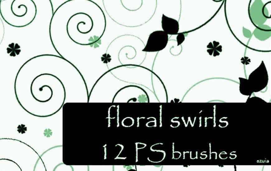 Floral Swirls Photoshop Brushesribbon swirl photoshop brush free