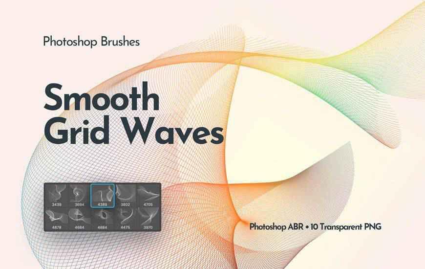 Flowing Network Waves ribbon swirl photoshop brush free