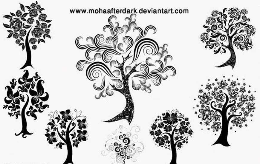 Decorative Trees ribbon swirl photoshop brush free