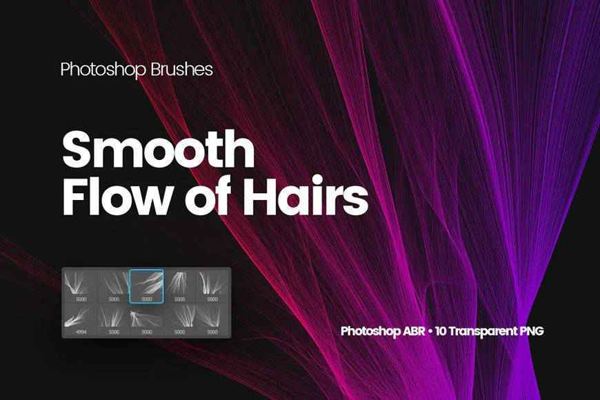 Digital Smooth Flow of Hairs technology tech industrial photoshop brushes free