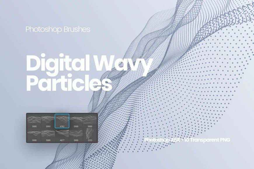 Digital Wavy Particles technology tech industrial photoshop brushes free