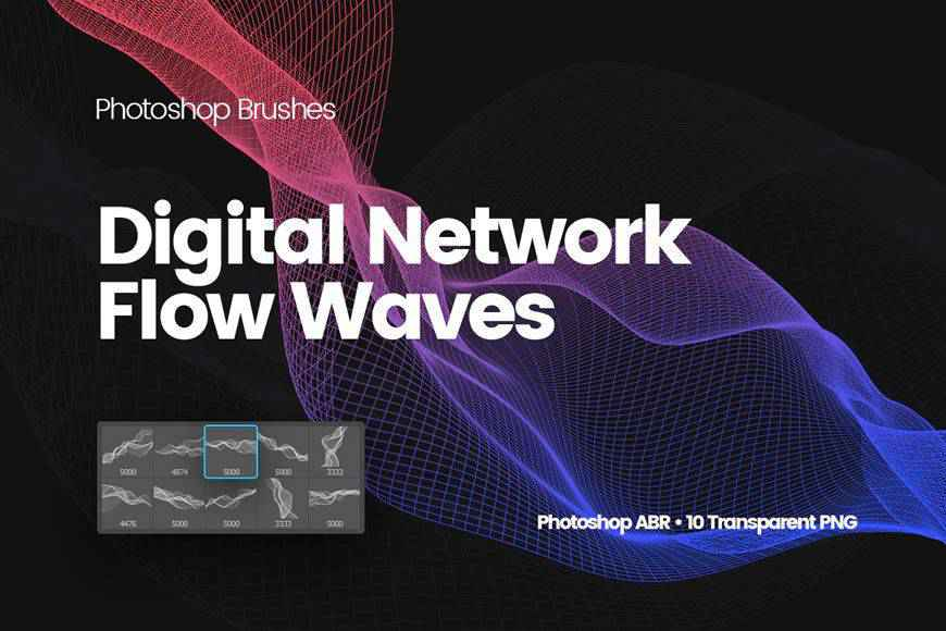 Digital Network Flow of Waves technology tech industrial photoshop brushes free