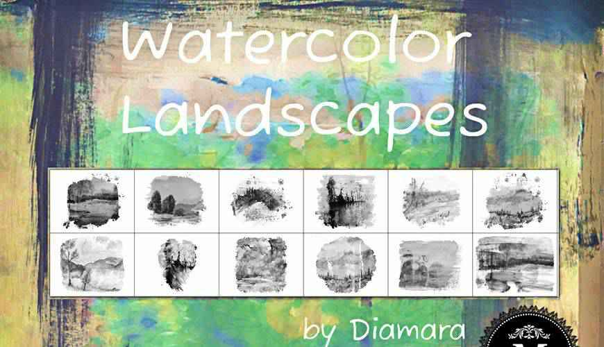 Landscapes watercolor photoshop brushes free