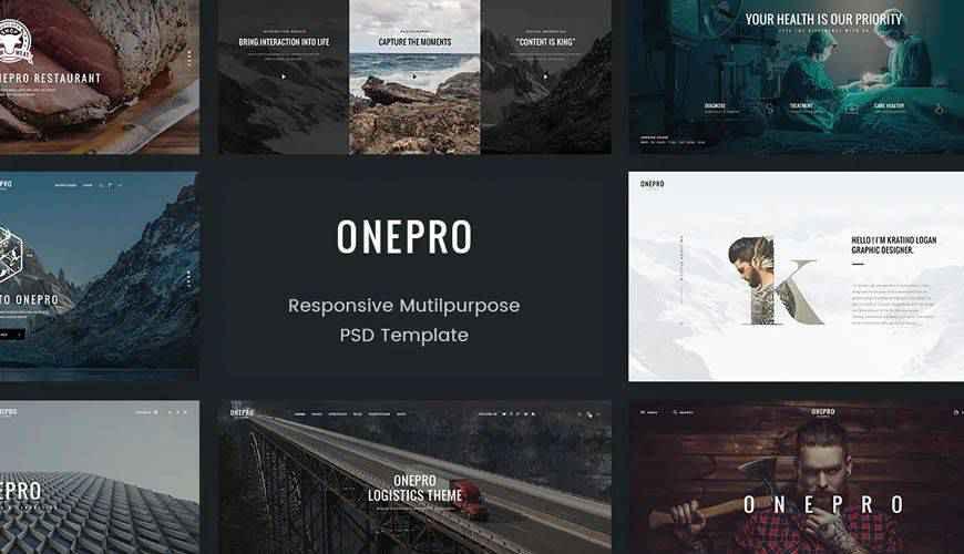 OnePro Creative Multipurpose  PSD Web Template Adobe Photoshop