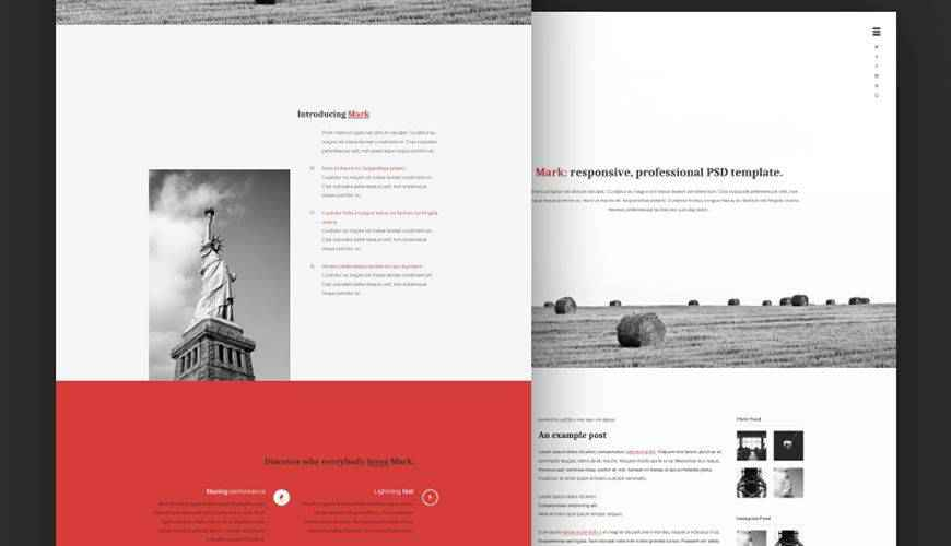 Mark PSD Personal Web Template Adobe Photoshop