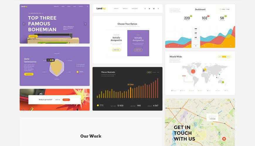UI Kit Landing Page PSD Web Template Adobe Photoshop