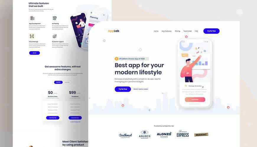 Mobile App Landing Page PSD Web Template Adobe Photoshop