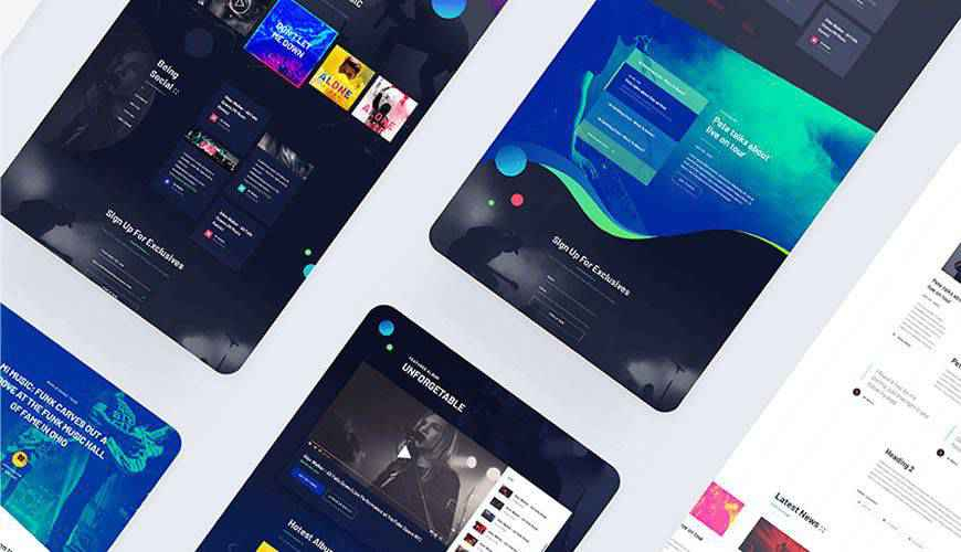 Music Website PSD Web Template Adobe Photoshop