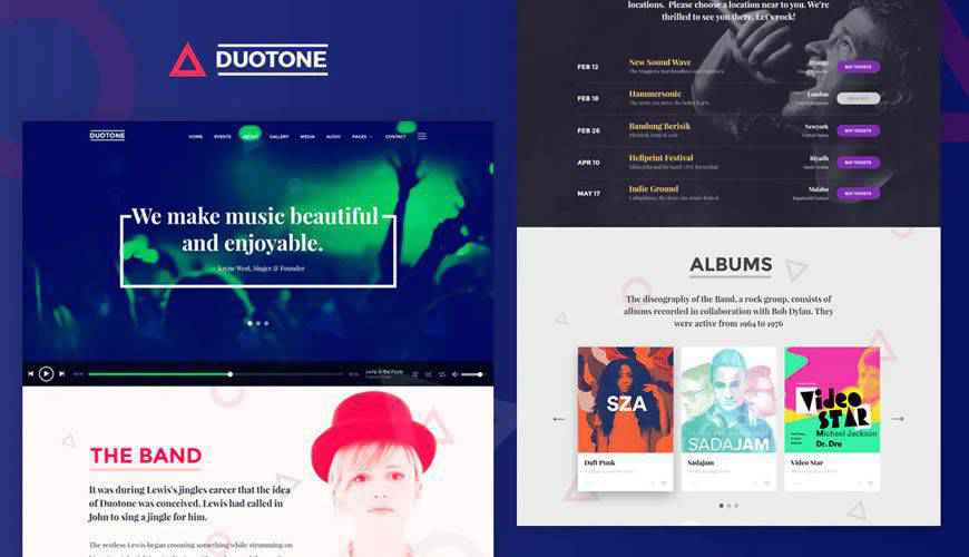 Music Band Responsive  PSD Web Template Adobe Photoshop