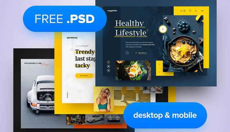 Desktop Mobile PSD Web Template Adobe Photoshop