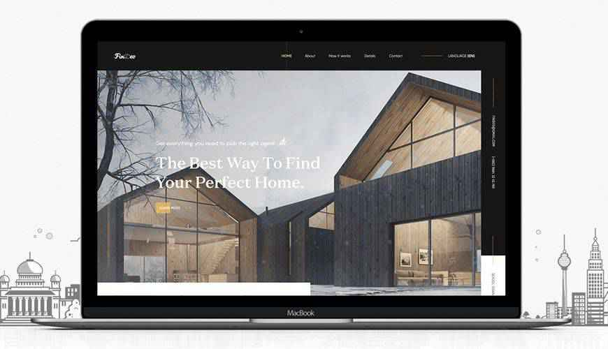 Real Estate Landing Page Design PSD Web Template Adobe Photoshop
