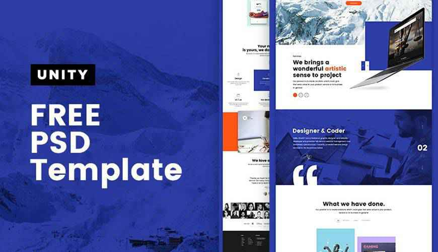Unity Multipurpose PSD Web Template Adobe Photoshop