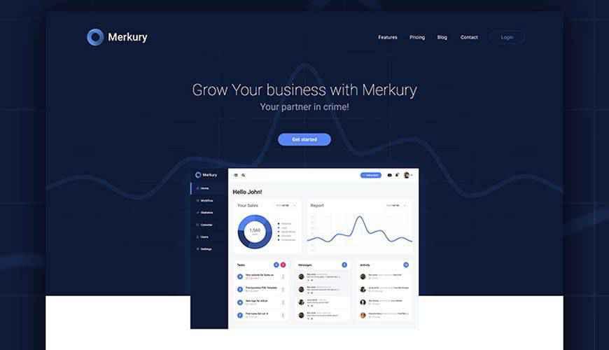 Merkury Business PSD Web Template Adobe Photoshop
