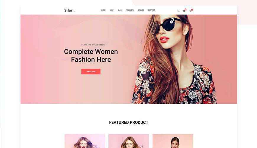 Silon One Page eCommerce PSD Web Template Adobe Photoshop